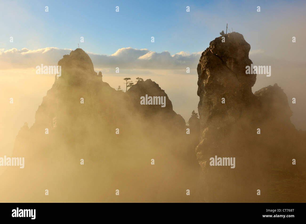 hiker walking in Ai-Petri Mountain area on Crimea in  Ukraine - Stock Image