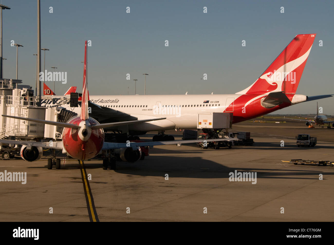 A Qantas Airbus at the domestic flight terminal at Sydney (Kingsford Smith) airport in Sydney in New South Wales, - Stock Image
