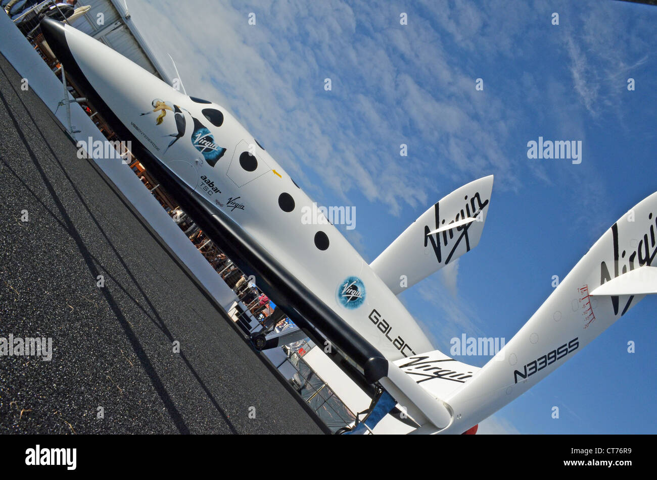 Virgin Galactic's SpaceShipTwo spaceplane at Farnborough 2012 - Stock Image