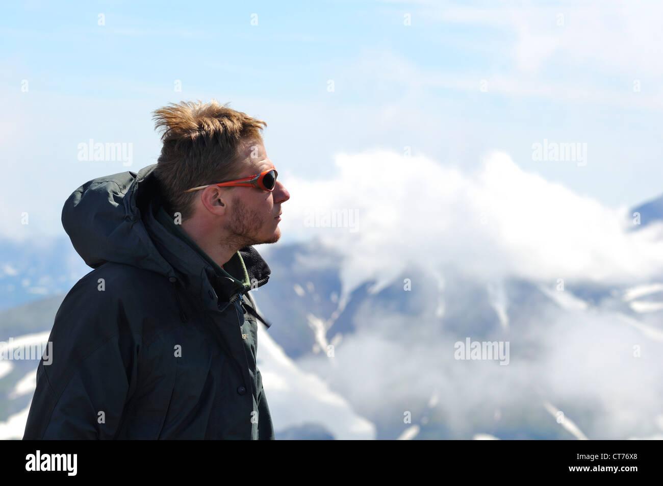 portrait of traveller in Gorely volcano area on Kamchatka - Stock Image