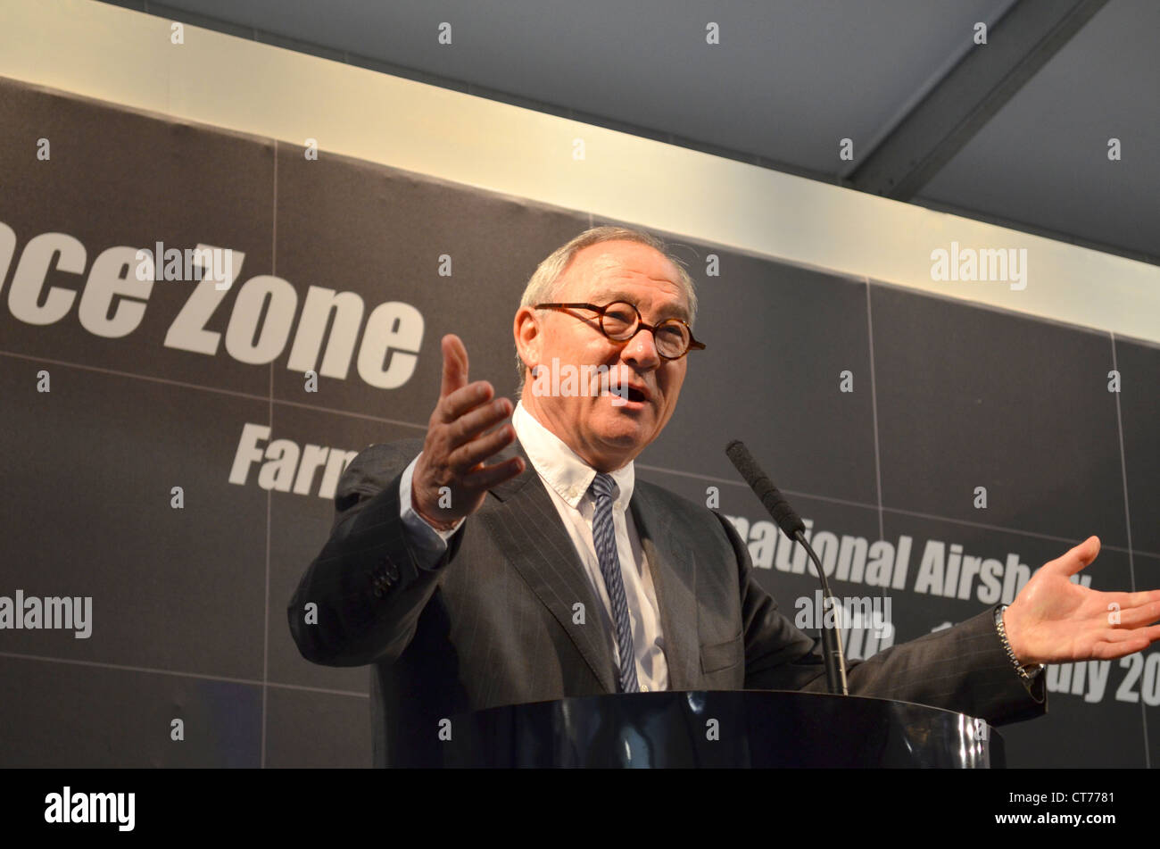 Jean Jacques Dordain, Director General ESA, speaking at the Farnborough Air Show - Stock Image