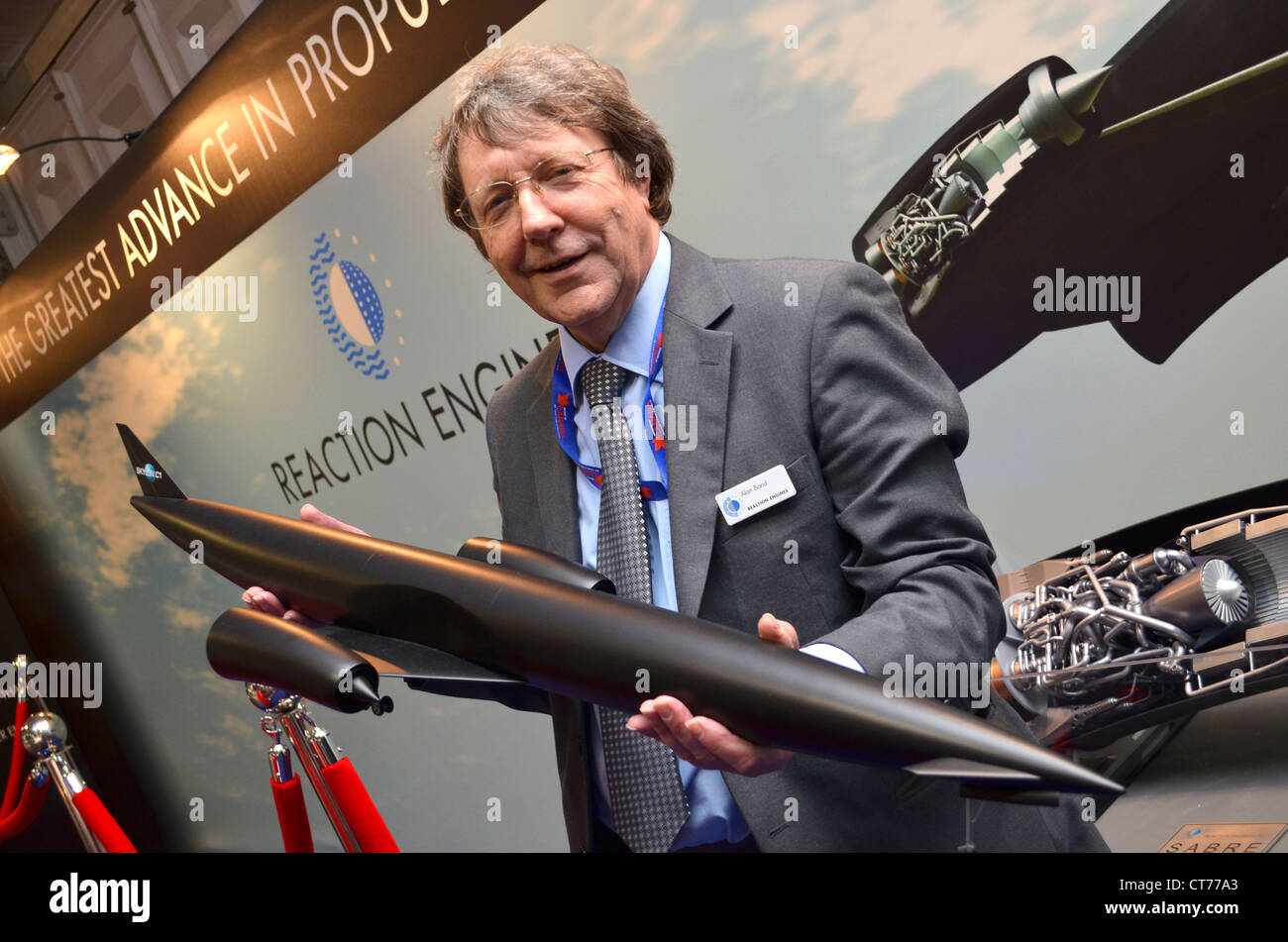 Alan Bond, Reaction Engines Limited with a model of the Skylon space plane. - Stock Image