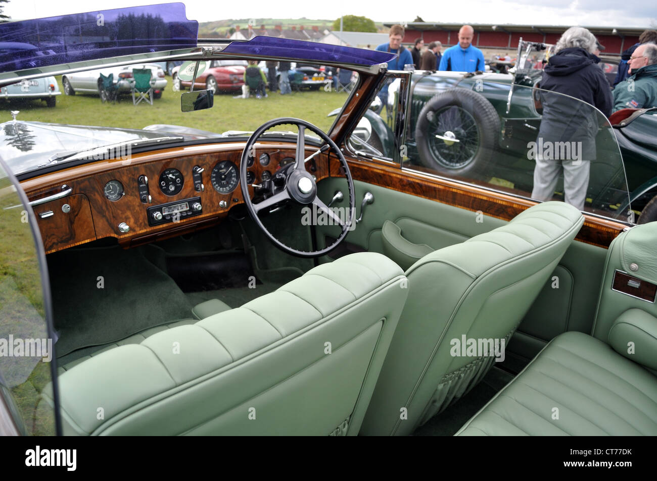 Leather And Walnut Interior Of Classic Rolls Royce At Car Show Stock Photo Alamy