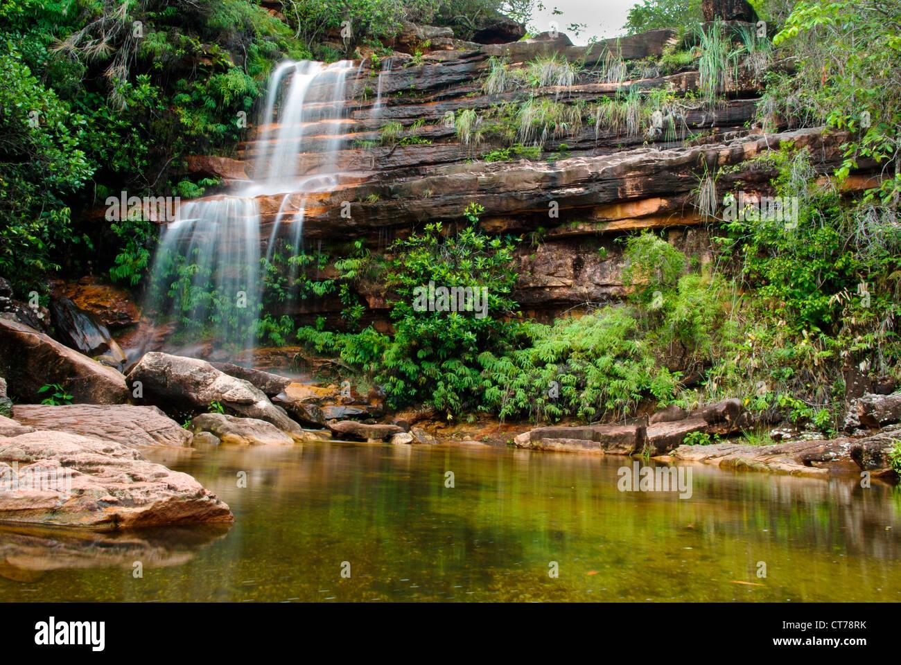 A waterfall in Chapada Diamantina (Brazil) - Stock Image