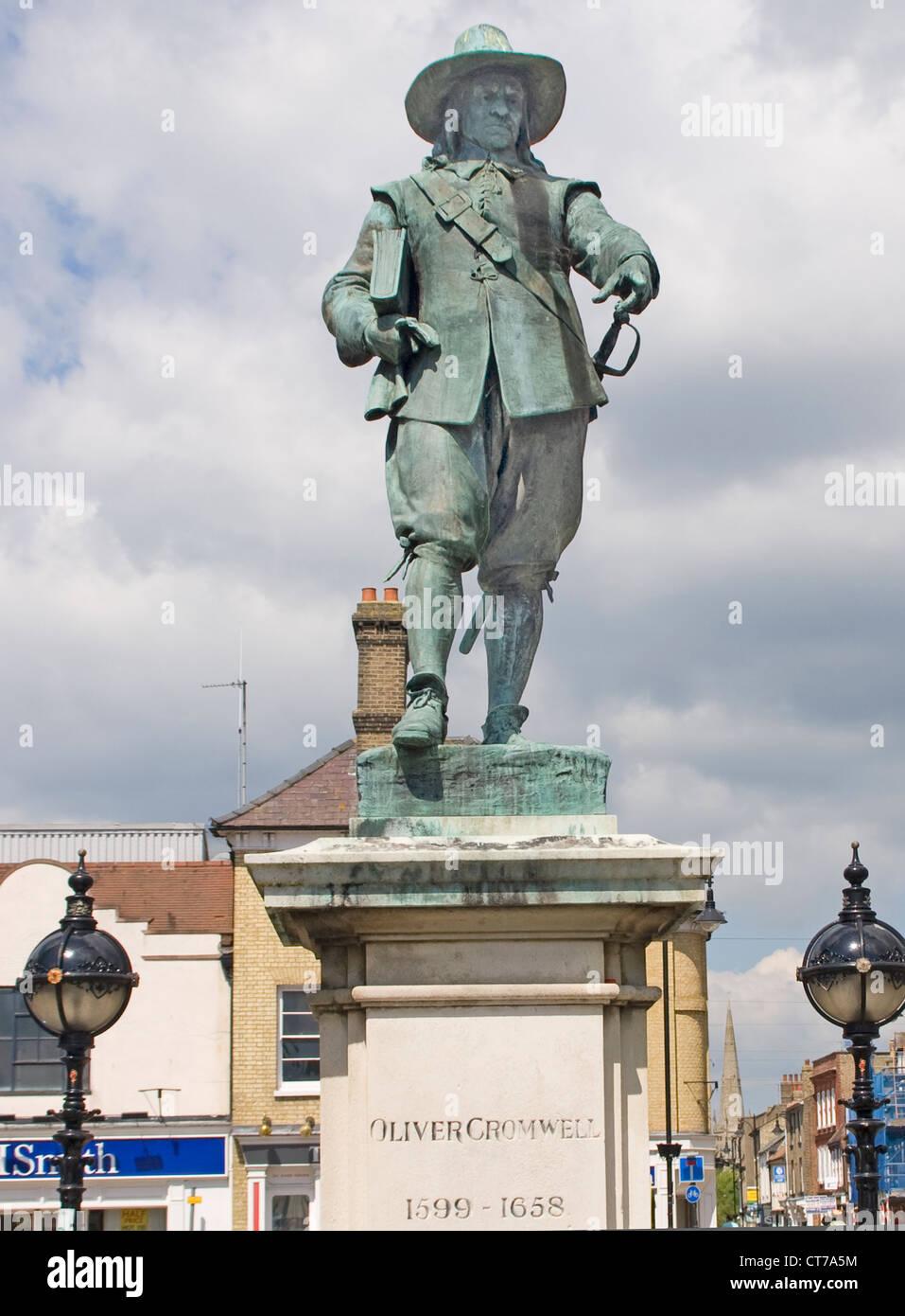 Oliver Cromwell statue St. Ives Cambridgeshire UK - Stock Image