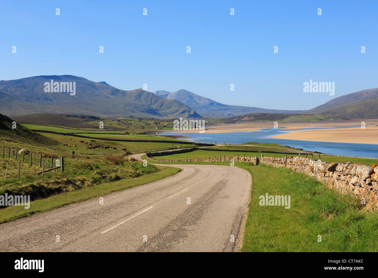 Scenic A838 country north coast 500 road on North and West Highlands Tourist Route in Kyle of Durness Sutherland - Stock Image