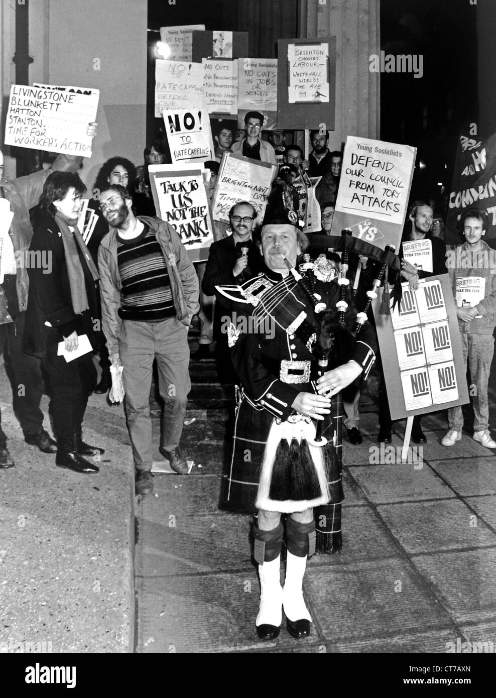 Protest outside Brighton Town Hall against proposed Government cuts in local council spending in 1986 - Stock Image