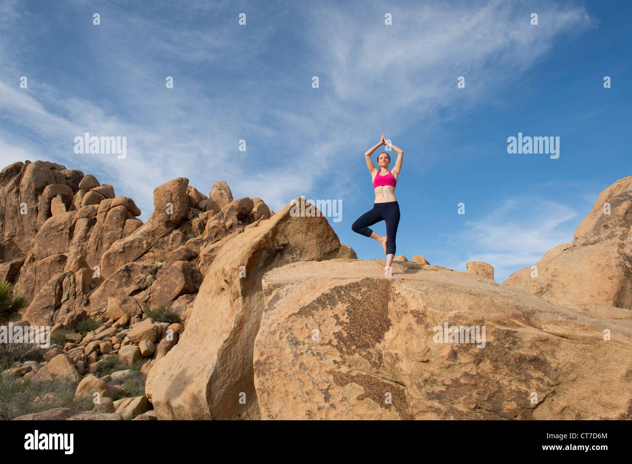 Young woman in tree pose on desert rocks - Stock Image