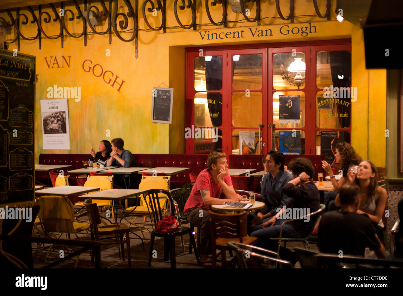 Café la Nuit, thought to be the café painted by Van Gogh in his Café Terrace at Night, at Place du - Stock Image