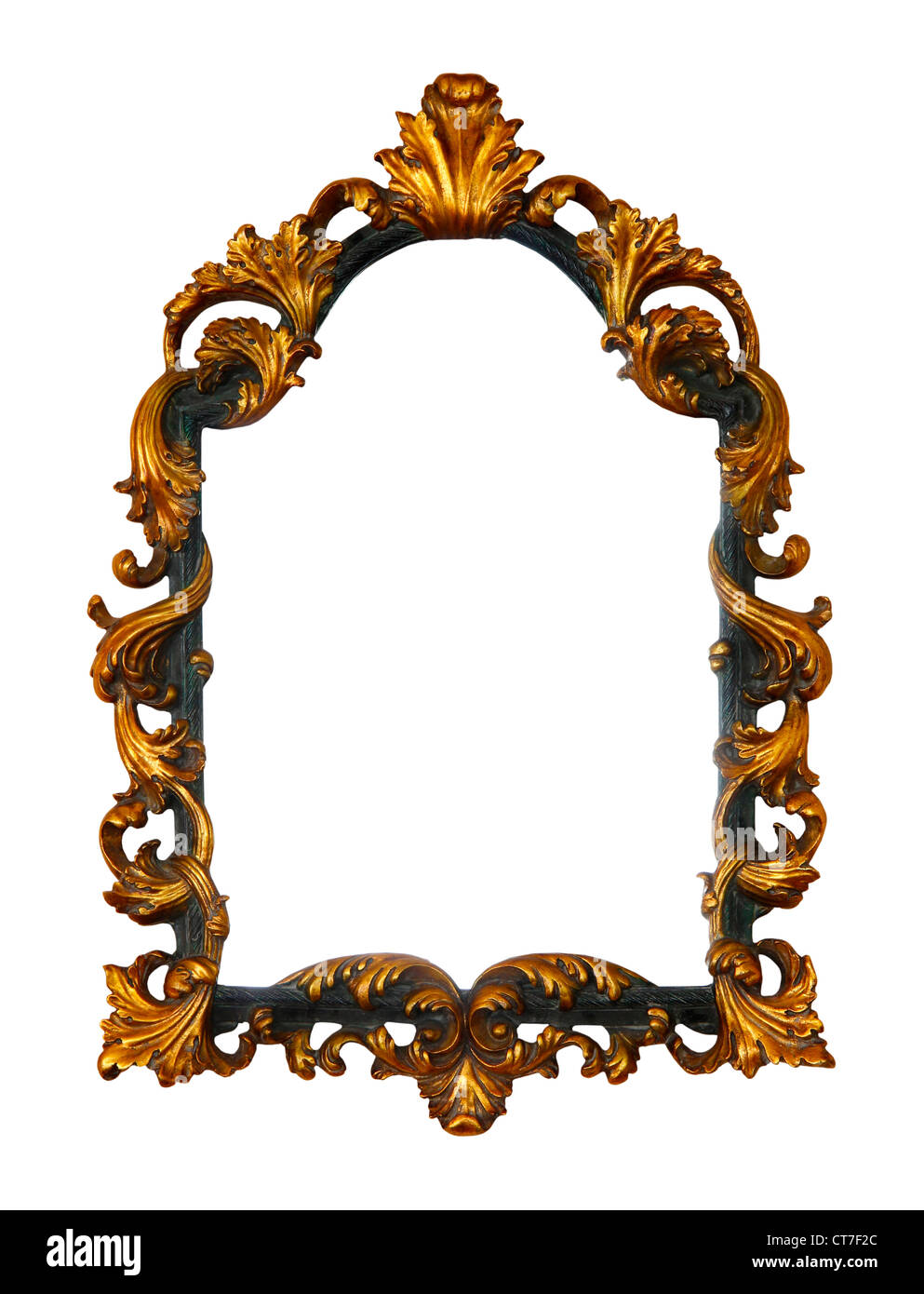 Vintage wooden picture frame isolated on white background - Stock Image