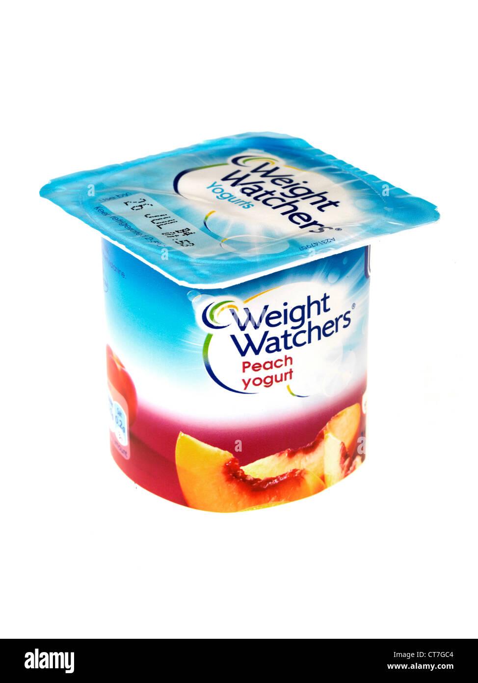 Weight Watchers Peach Yogurt - Stock Image