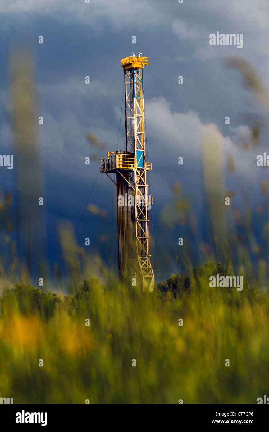 A hydro-fracking rig in Northern Pennsylvania. - Stock Image