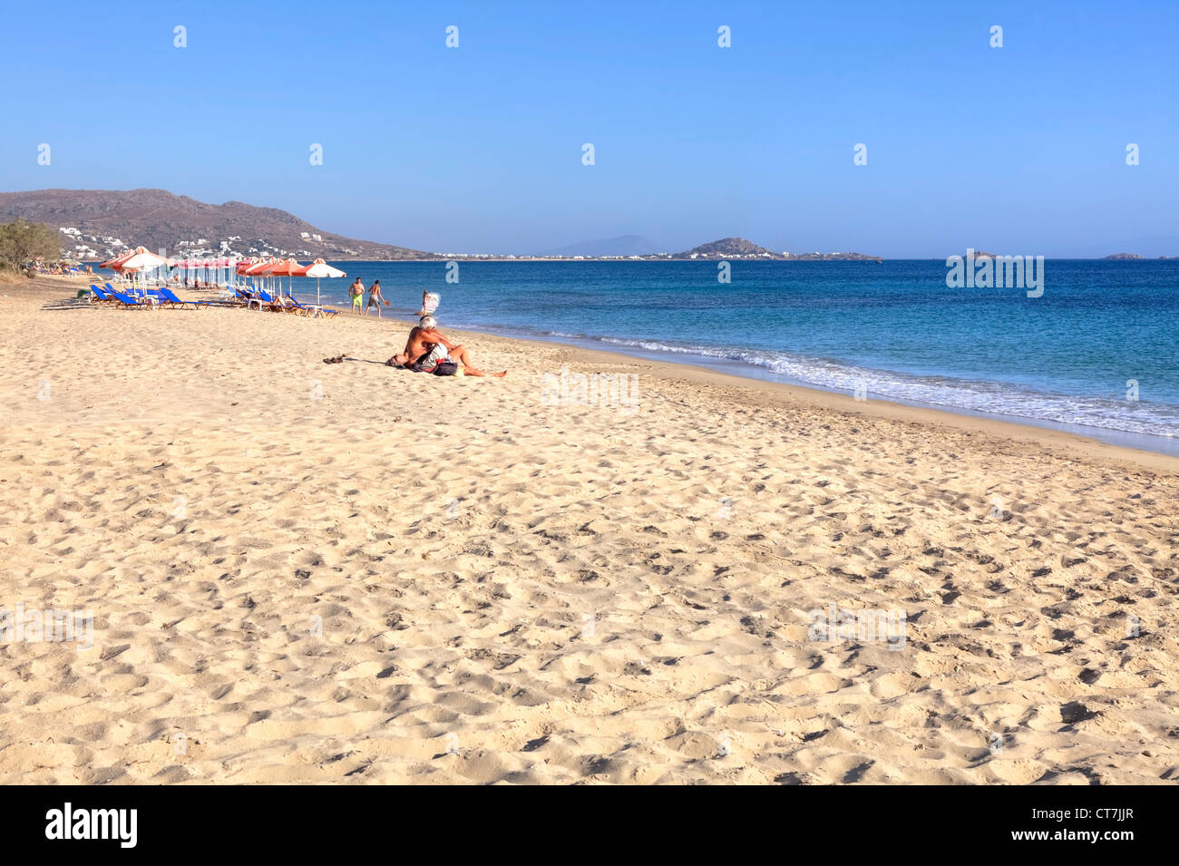 endless sandy beaches, not crowded, in Plaka, Naxos, Greece - Stock Image