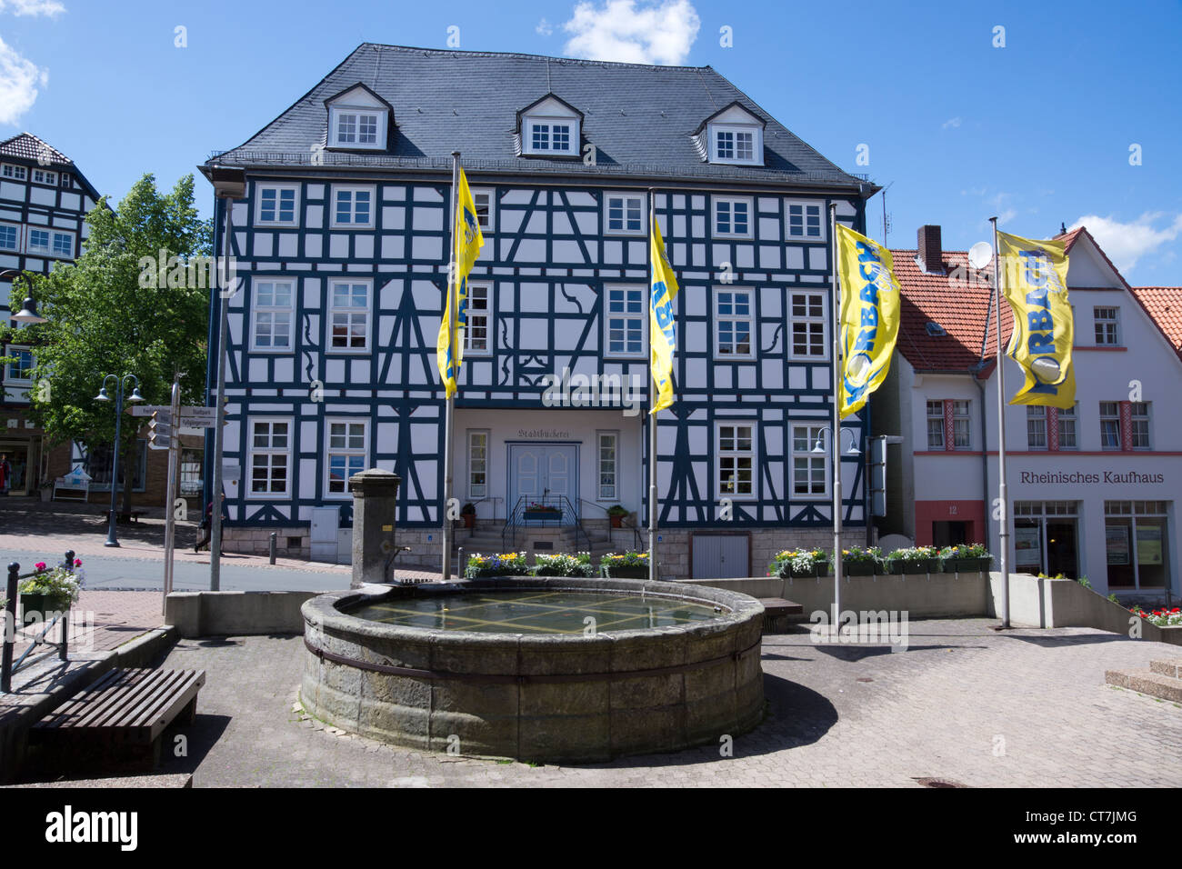 Municipal library on the market square Korbach, district  Waldeck-Frankenberg, Hesse, Germany, Europe - Stock Image