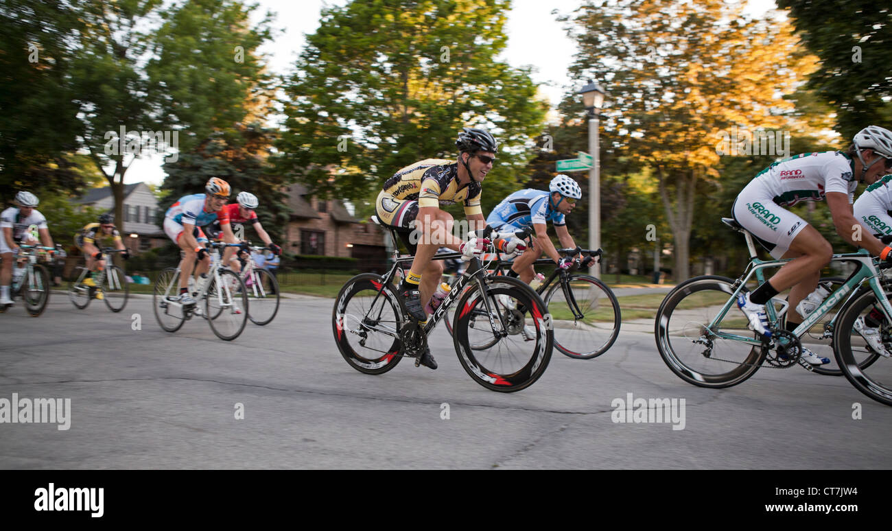 The Shorewood, Wisconsin Criterium is an annual event on the streets of this village. Stock Photo