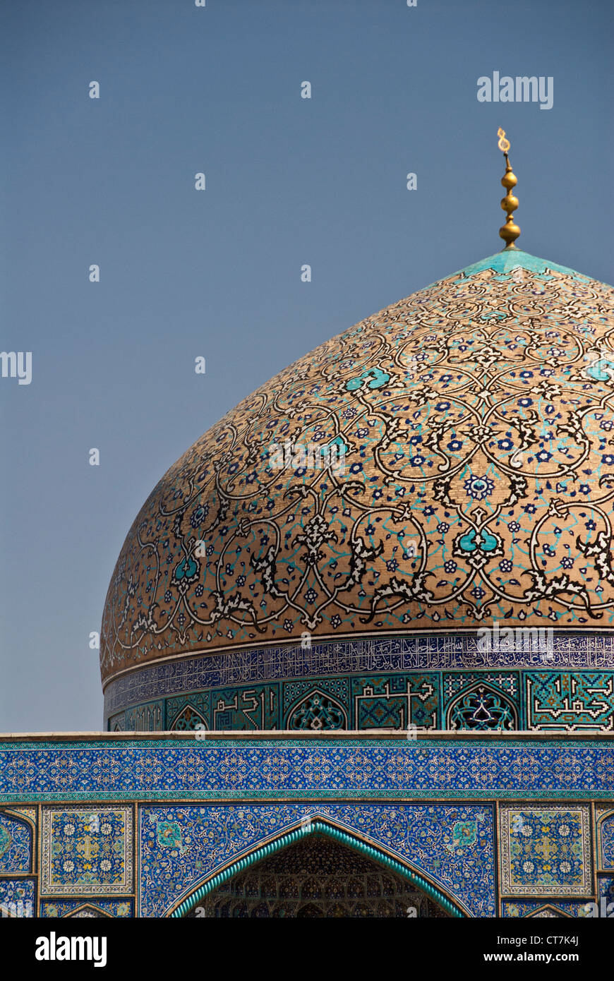 dome of the Masjid-i Sheikh Lotfallah Mosque is Esfahan, Iran - Stock Image