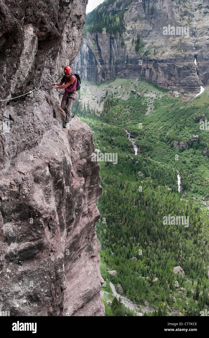 Climber tackles the Via Ferrata trail, Telluride, Colorado. - Stock Image
