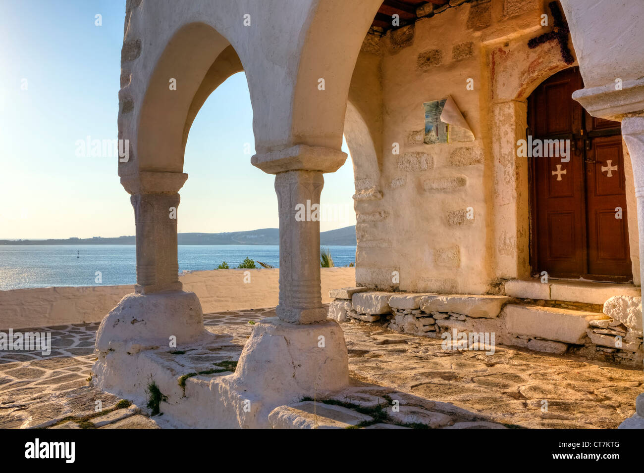 Views of the sea from the portico of the church of Agios Konstantinos, Paros, Cyclades, Greece - Stock Image