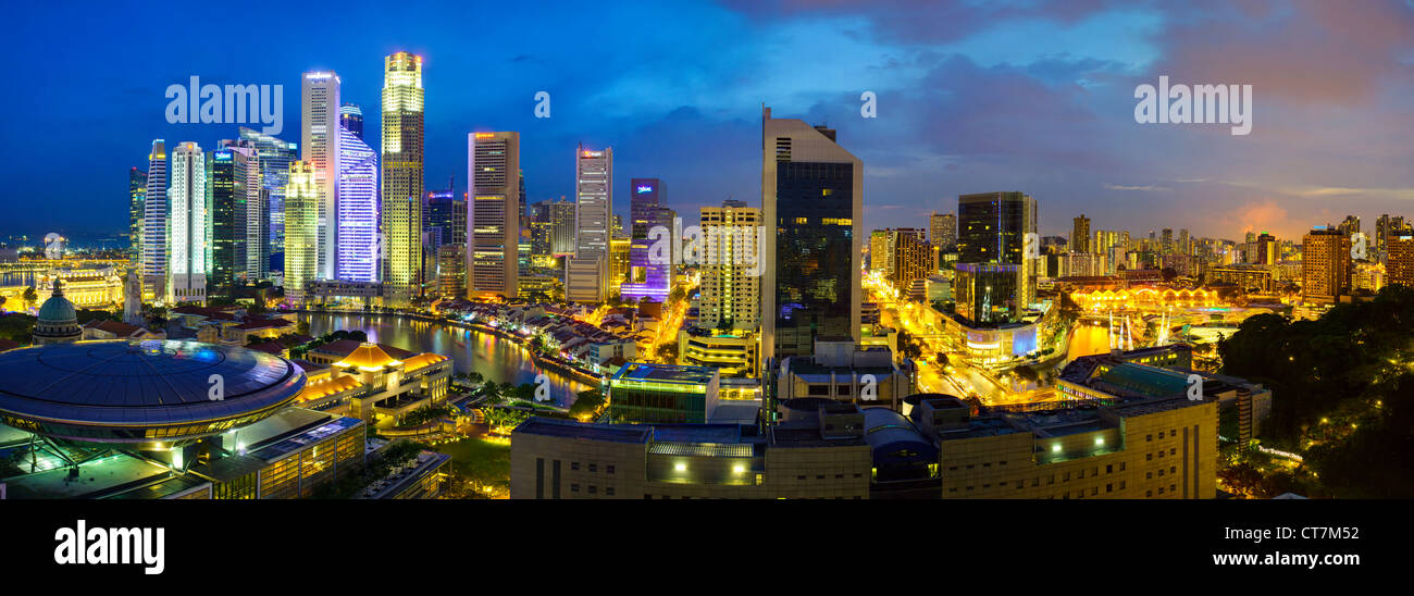 South East Asia, Singapore, Elevated view over the Entertainment district of Clarke Quay, the Singapore river and Stock Photo