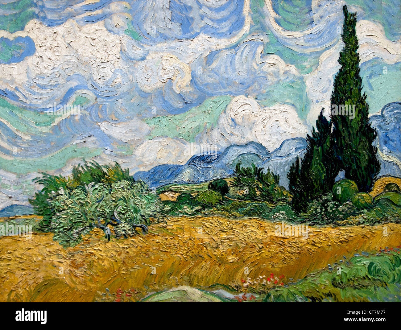 Wheat Field with Cypresses 1889 VVincent van Gogh 1853–1890 Dutch Netherlands - Stock Image