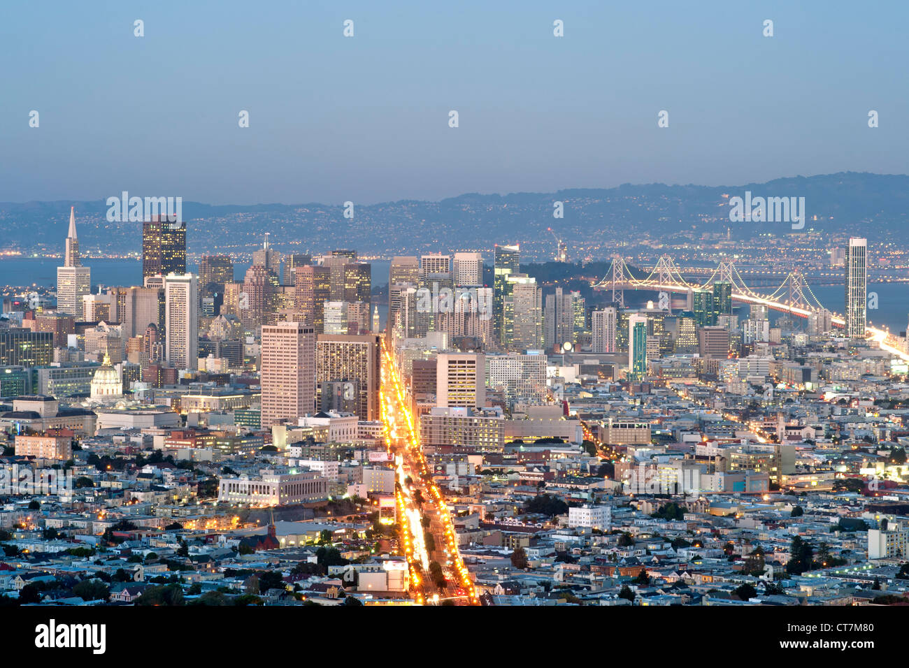Dusk view across San Francisco from the summit of Twin Peaks in California, USA. - Stock Image