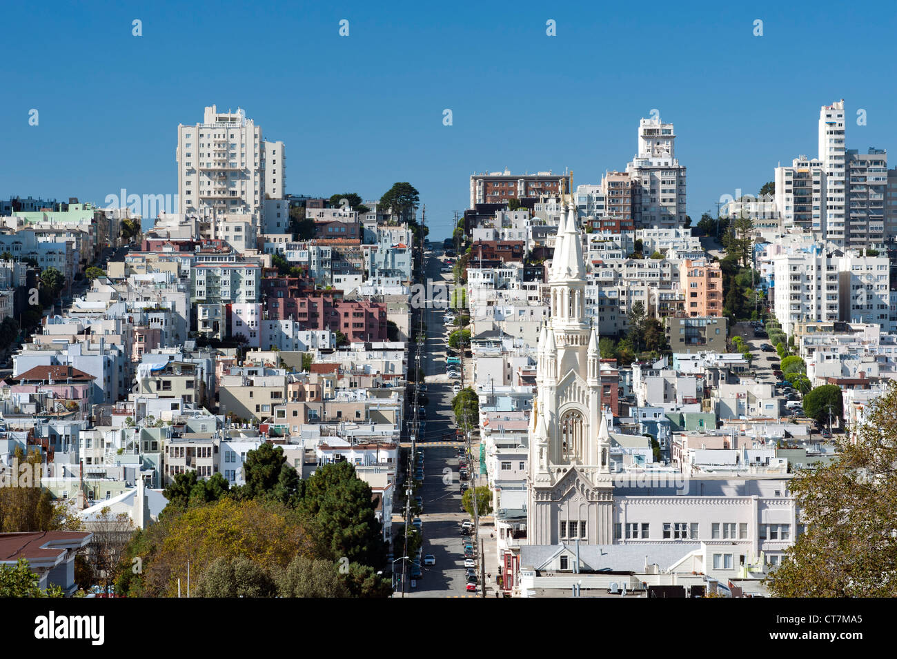 View along Filbert Street looking southwest past Saints Peter and Paul Church in the North Beach district of San - Stock Image