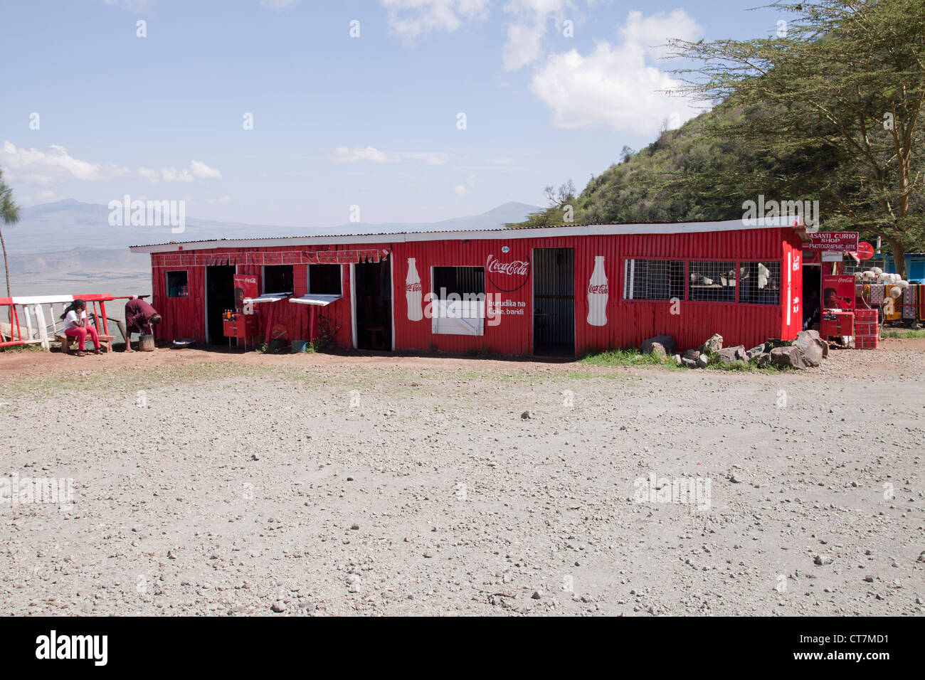 Cocacola red painted café at a roadside stop looking over the Great Rift Valley, Kenya, Africa Stock Photo