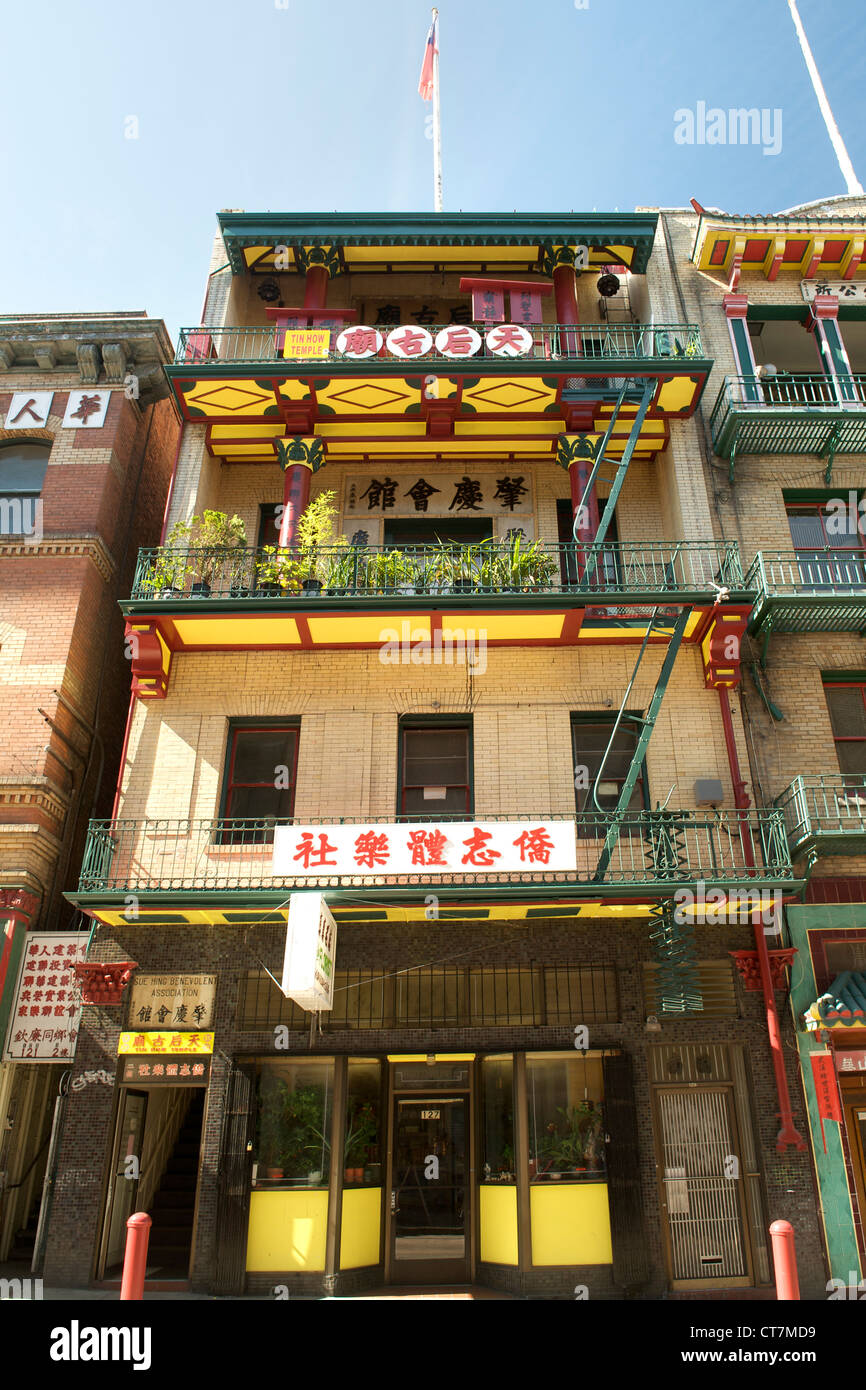 Tin How Temple in the Chinatown district of San Francisco, California, USA. - Stock Image