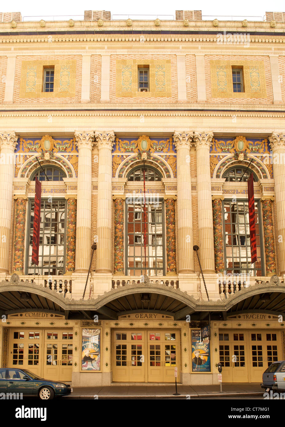 Entrance and facade of the American Conservatory Theatre in San Francisco, California, USA. - Stock Image