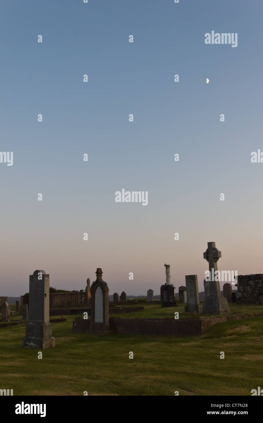 Twilight at graveyard in Stornoway (Outer Hebrides) - Stock Image