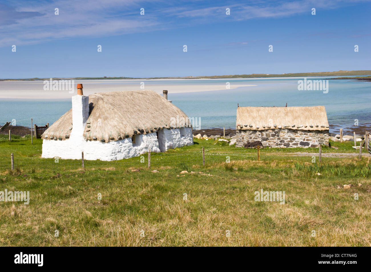 Croft houses in North Uist (Outer Hebrides of Scotland) - Stock Image