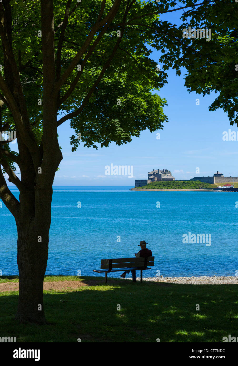 Man on bench in Queen's Royal Park on Lake Ontario with Old Fort Niagara (USA) in distance, Niagara-on-the-Lake, - Stock Image
