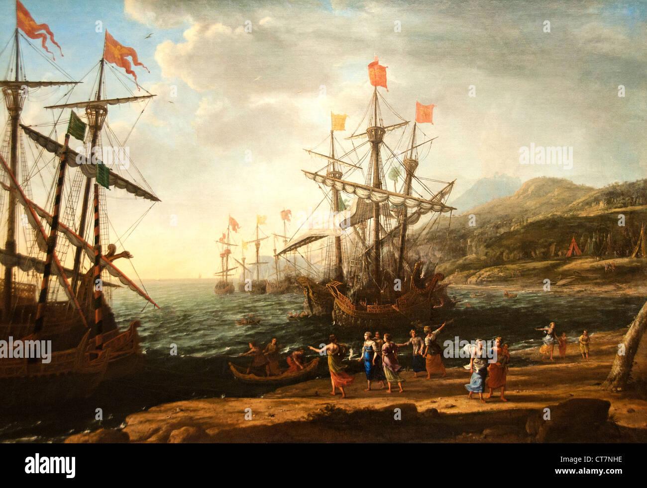 The Trojan Women Setting Fire to Their Fleet 1643   Claude Lorrain - Claude Gellée 1604/1605–1682)   France - Stock Image