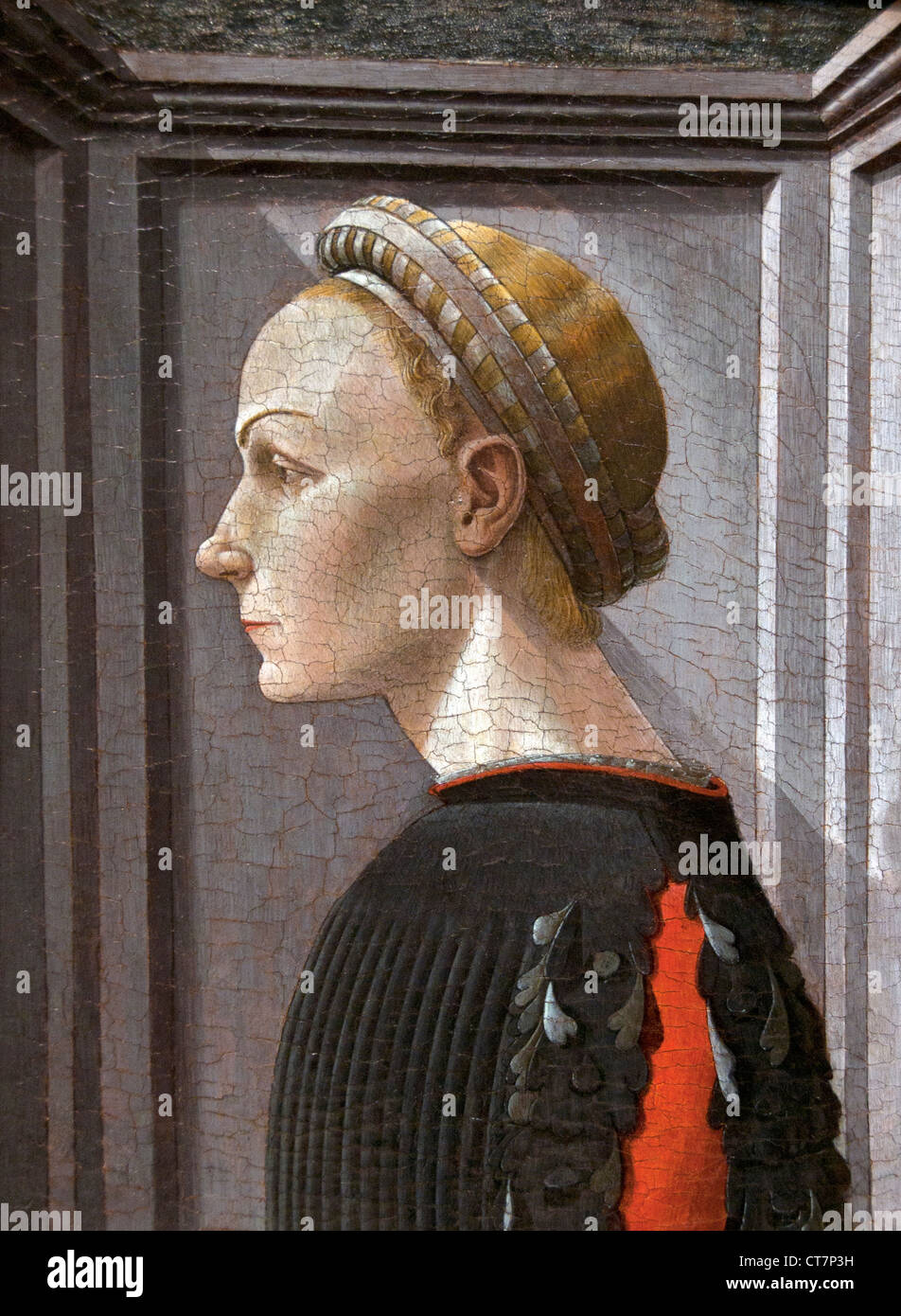 Portrait of a Woman 1440–50 Italian Florentine Painter attributed to Paolo Uccello  Italy - Stock Image