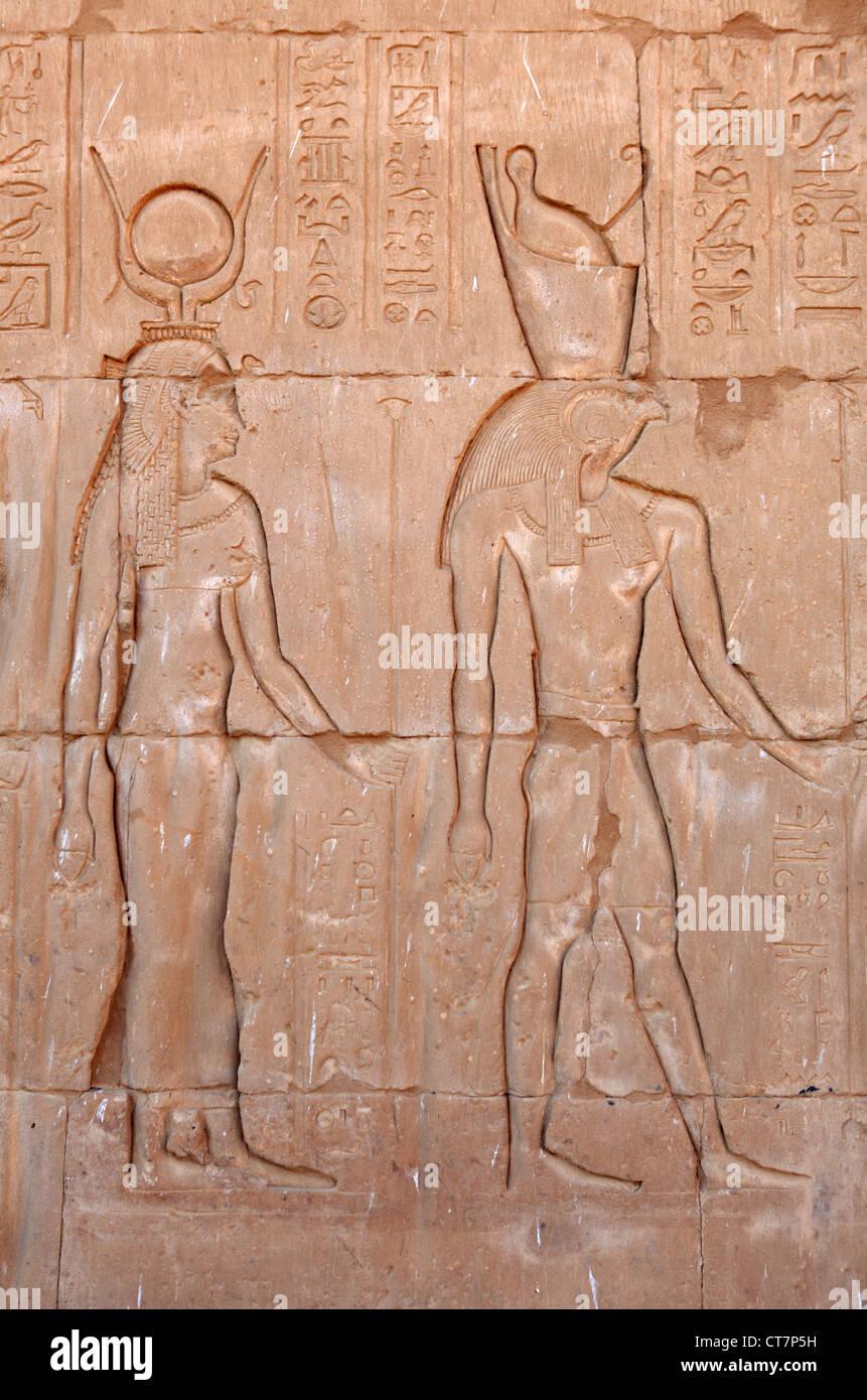 Inscriptions on the main entrance of Horus temple in Edfu, Egypt Stock Photo