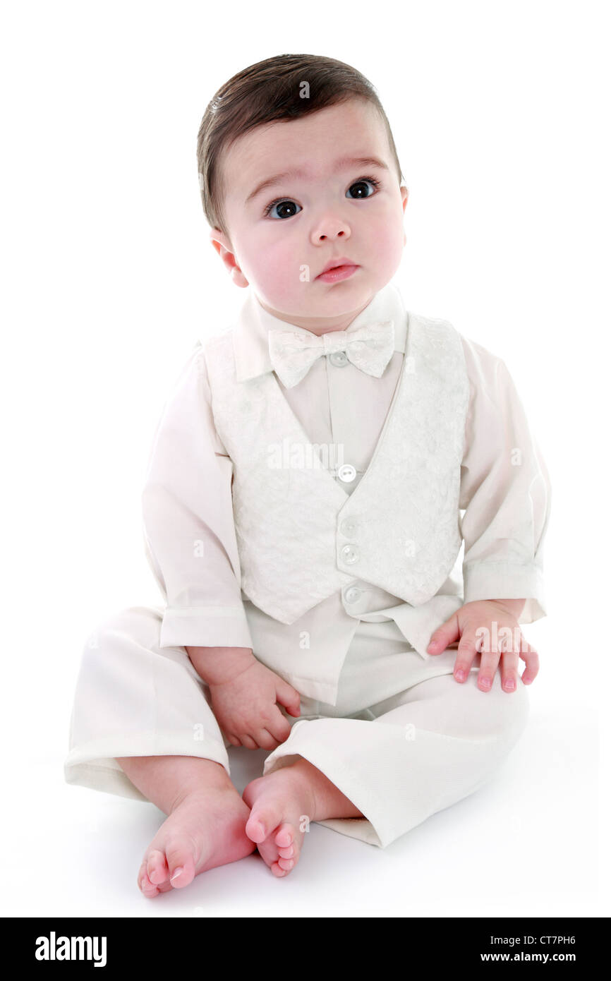 Angelic baby wearing special occasion outfit - Christening/Baptism - Stock Image