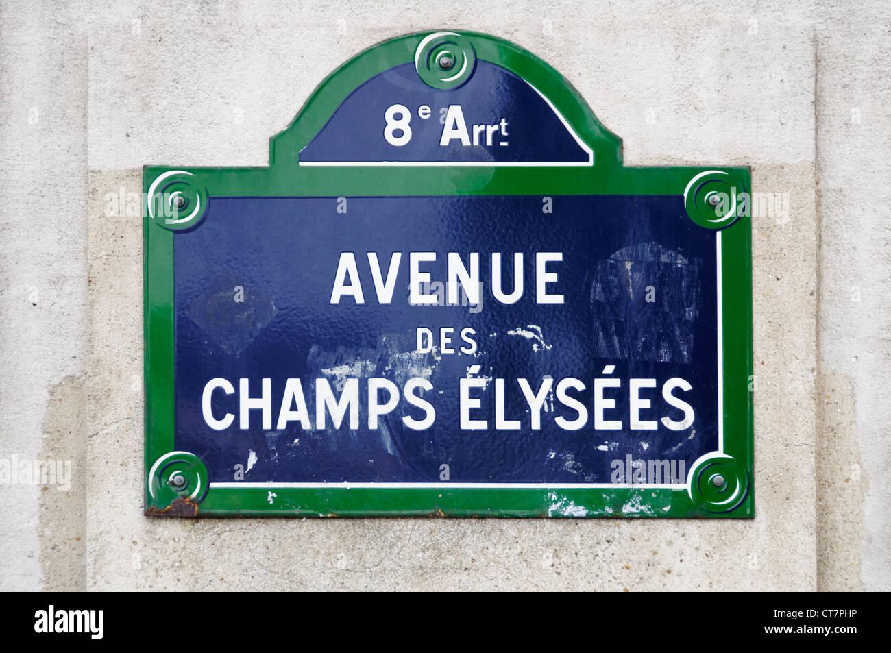Avenue des Champs Elysées street sign in Paris, France - Stock Image