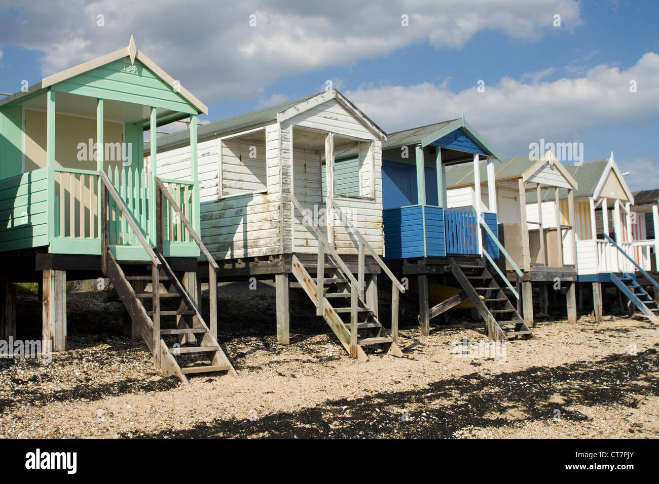 Beach Huts at Southend-on-Sea beach in Essex, England. - Stock Image