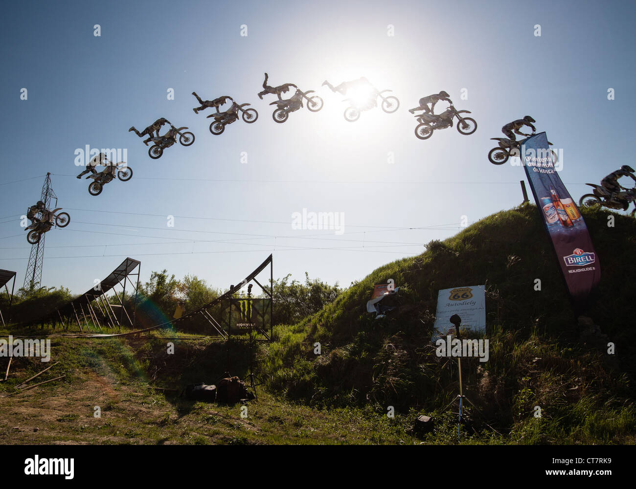 Jump sequence of Zdenek Fusek (CZE) performing trick at FMX session on April 28, 2012 in Bratislava, Slovakia - Stock Image