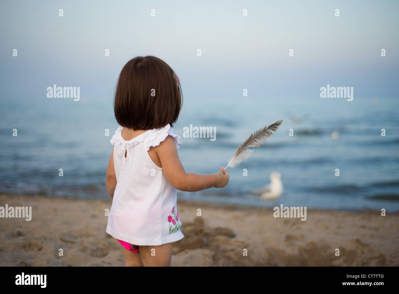 Young girl holding a feather looking out across open water and towards seagulls Stock Photo