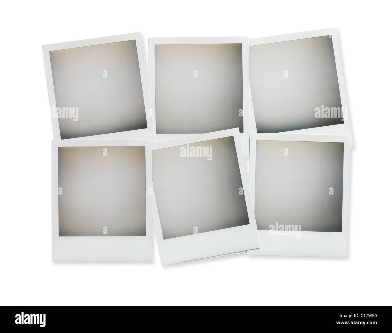 six blank polaroid pictures overhead isolated on white with clipping path - Stock Image