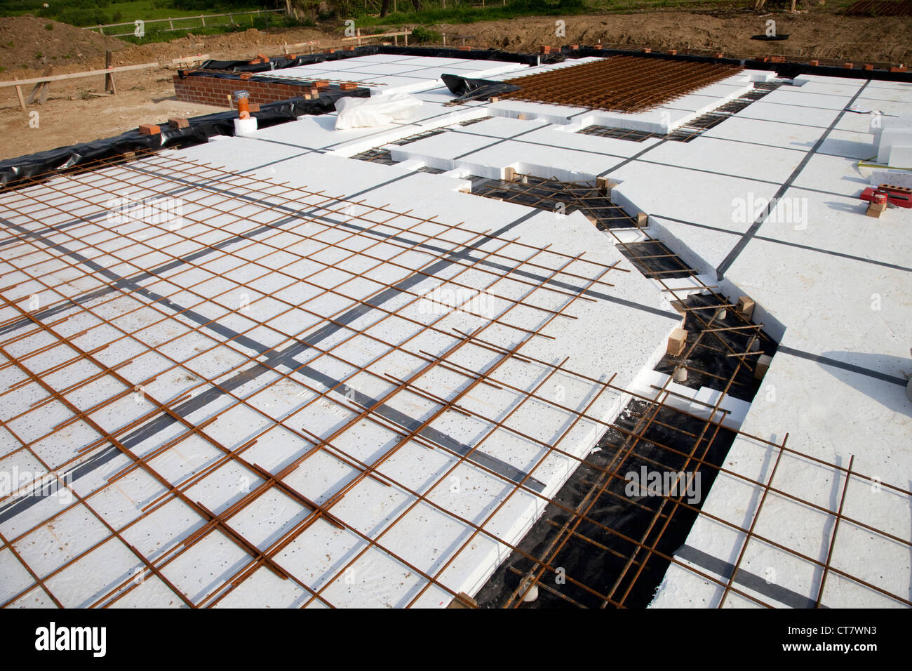 Steel Reinforcement Mesh A252 On Insulated Passive Slab Colemans Hill Farm New Build Chipping Campden UK