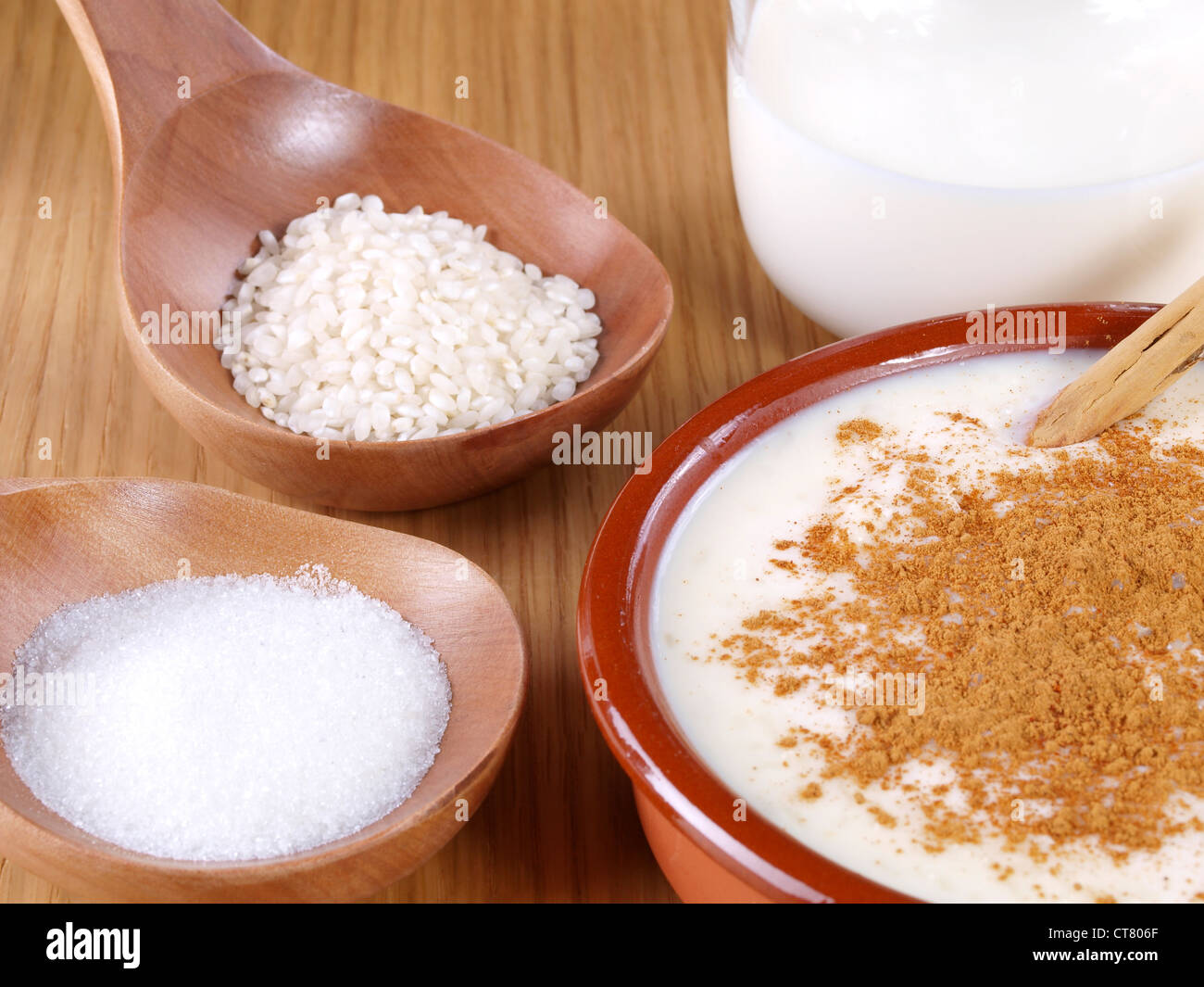 Rice Pudding – Arroz con leche. Spanish version of the rice pudding. Made with milk, rice,  sugar, and cinnamon. - Stock Image