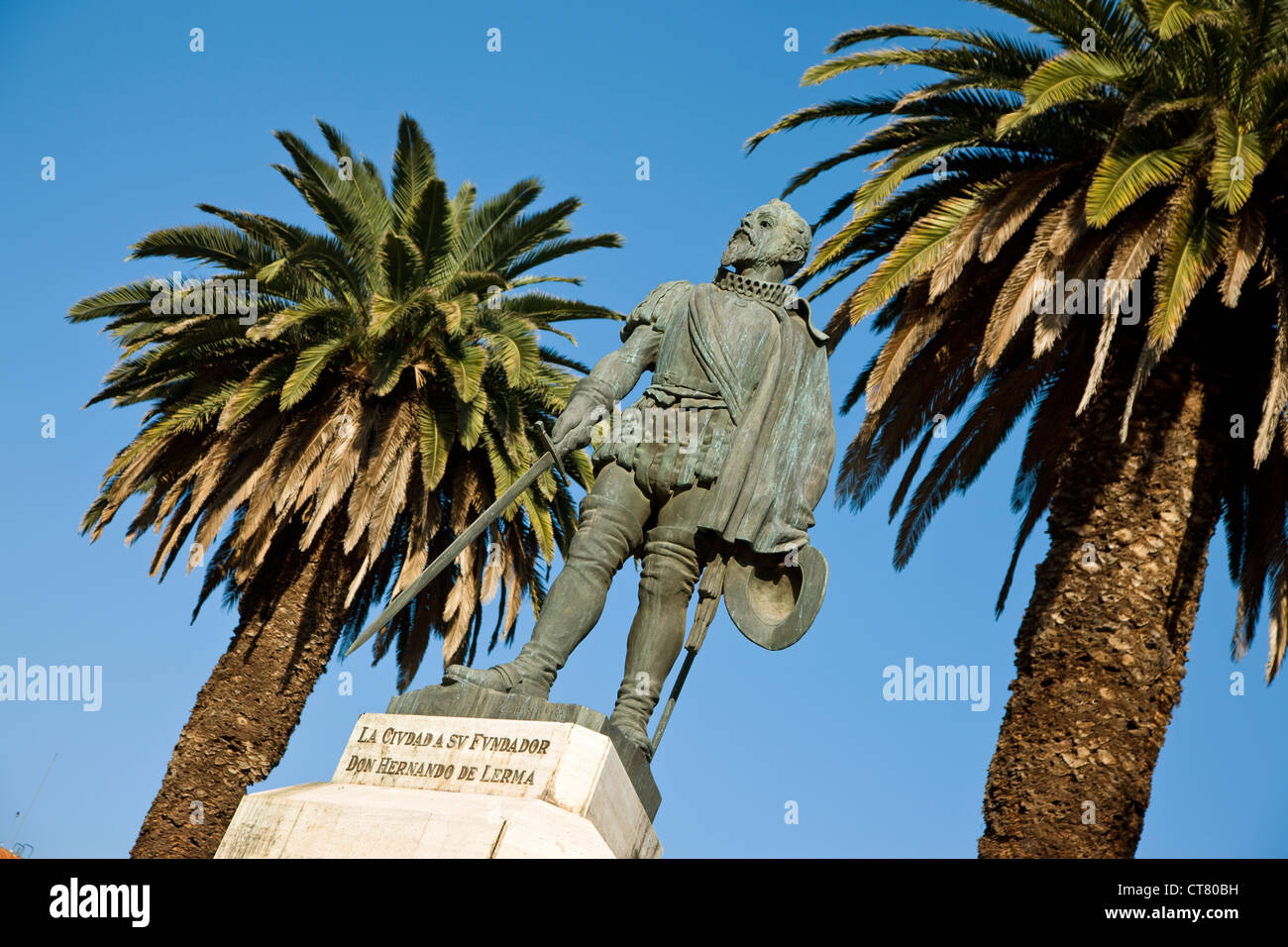 Statue of Hernando de Lerma by Angel Ibarra in the Plaza General Guemes - Stock Image