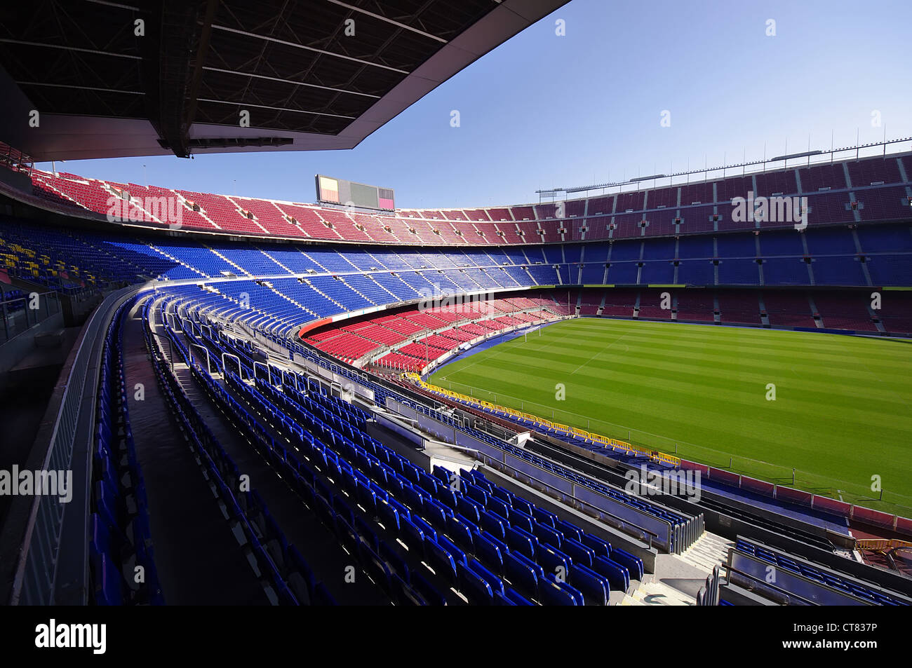 wide view of FC Barcelona (Nou Camp) soccer stadium - Stock Image