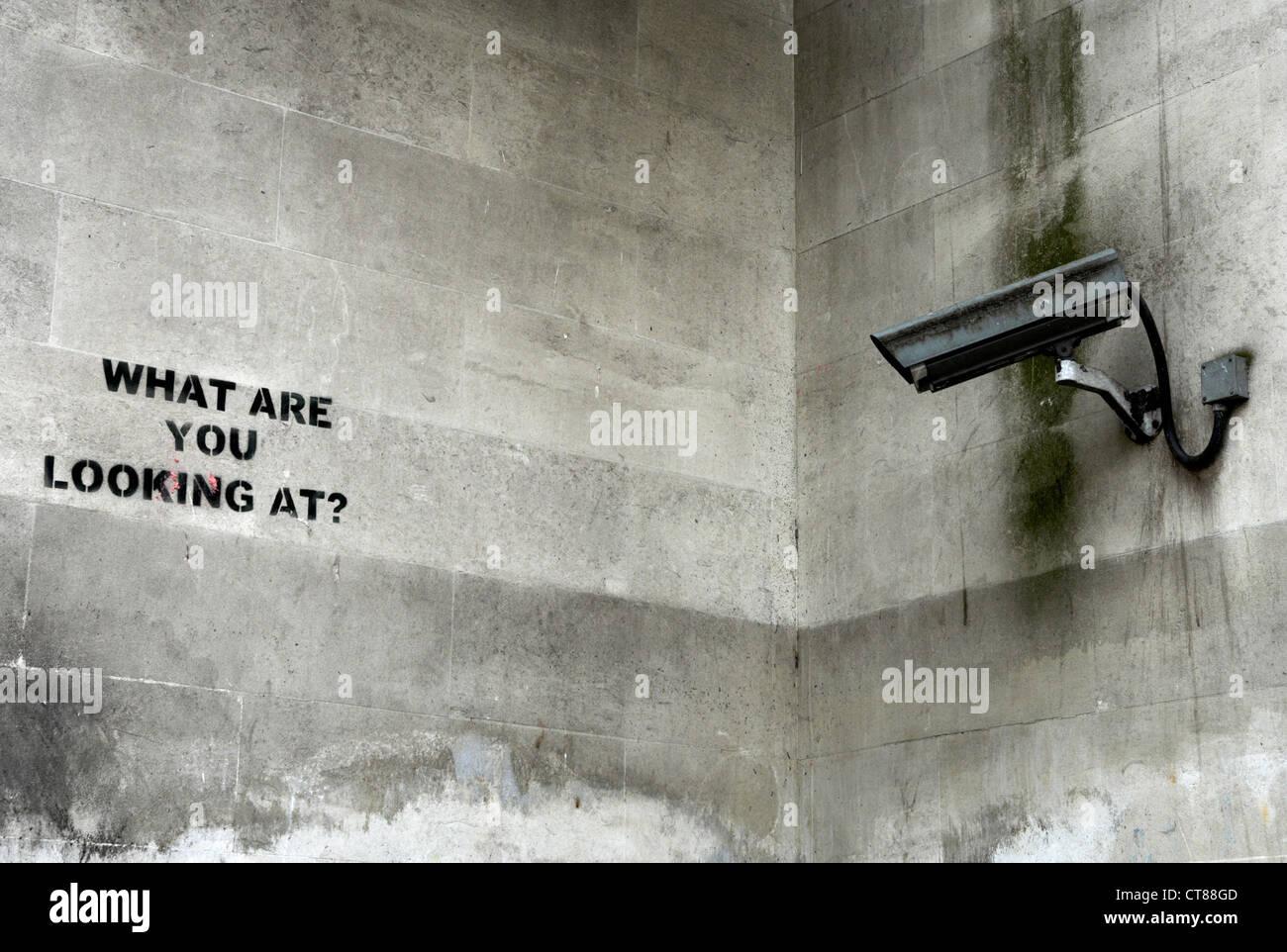 London - security camera focused on a graffiti Stock Photo