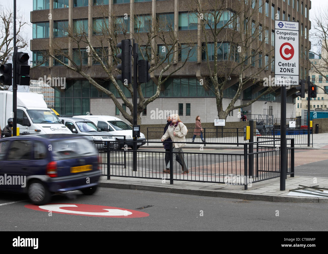 London - A car racing in the congestion charging zone - Stock Image