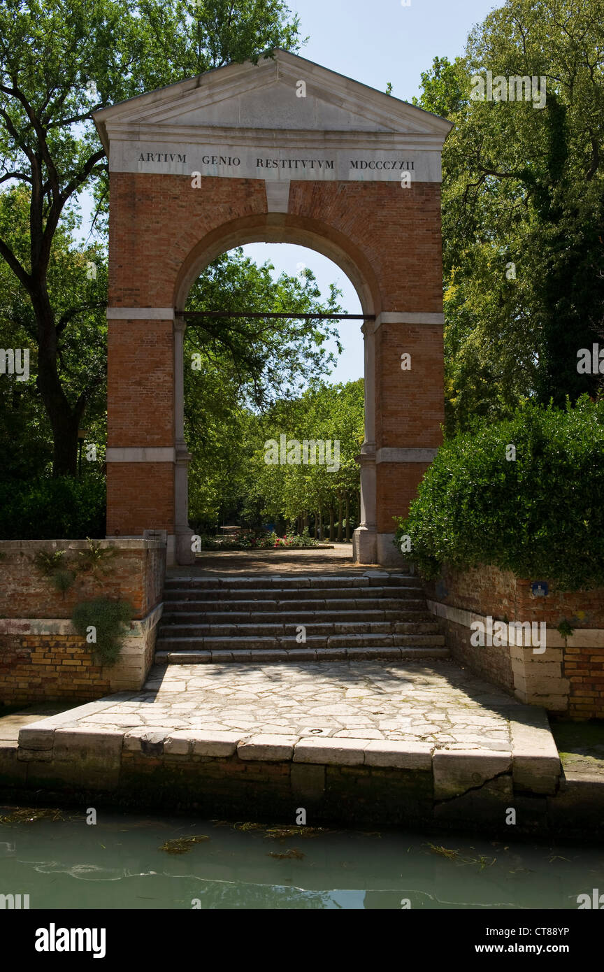 Venice, Italy. The arch at the entrance to the Biennale Gardens - Stock Image