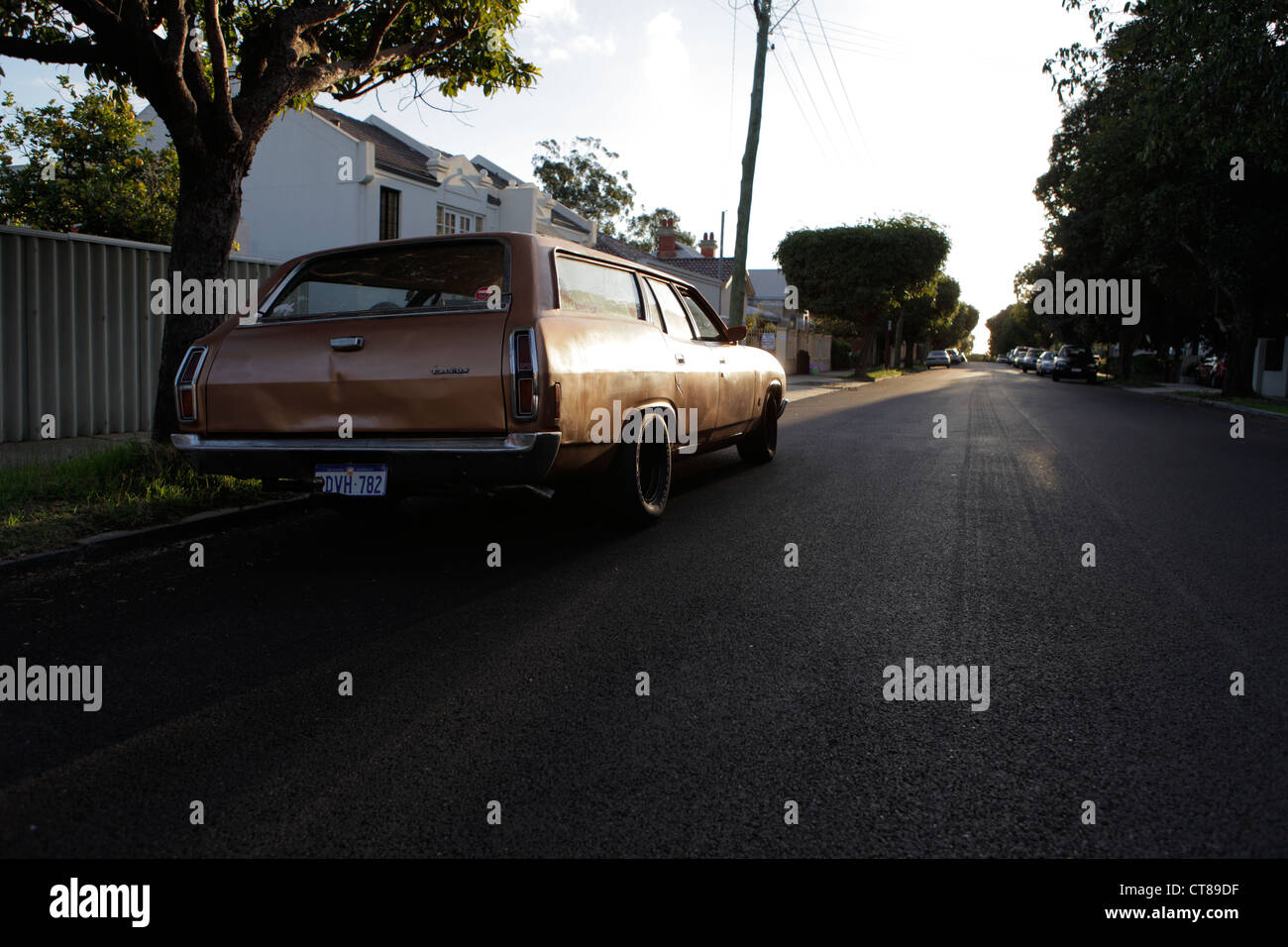 A classic Australian Ford Falcon parked down a Northbridge side street in Perth, Western Australia - Stock Image