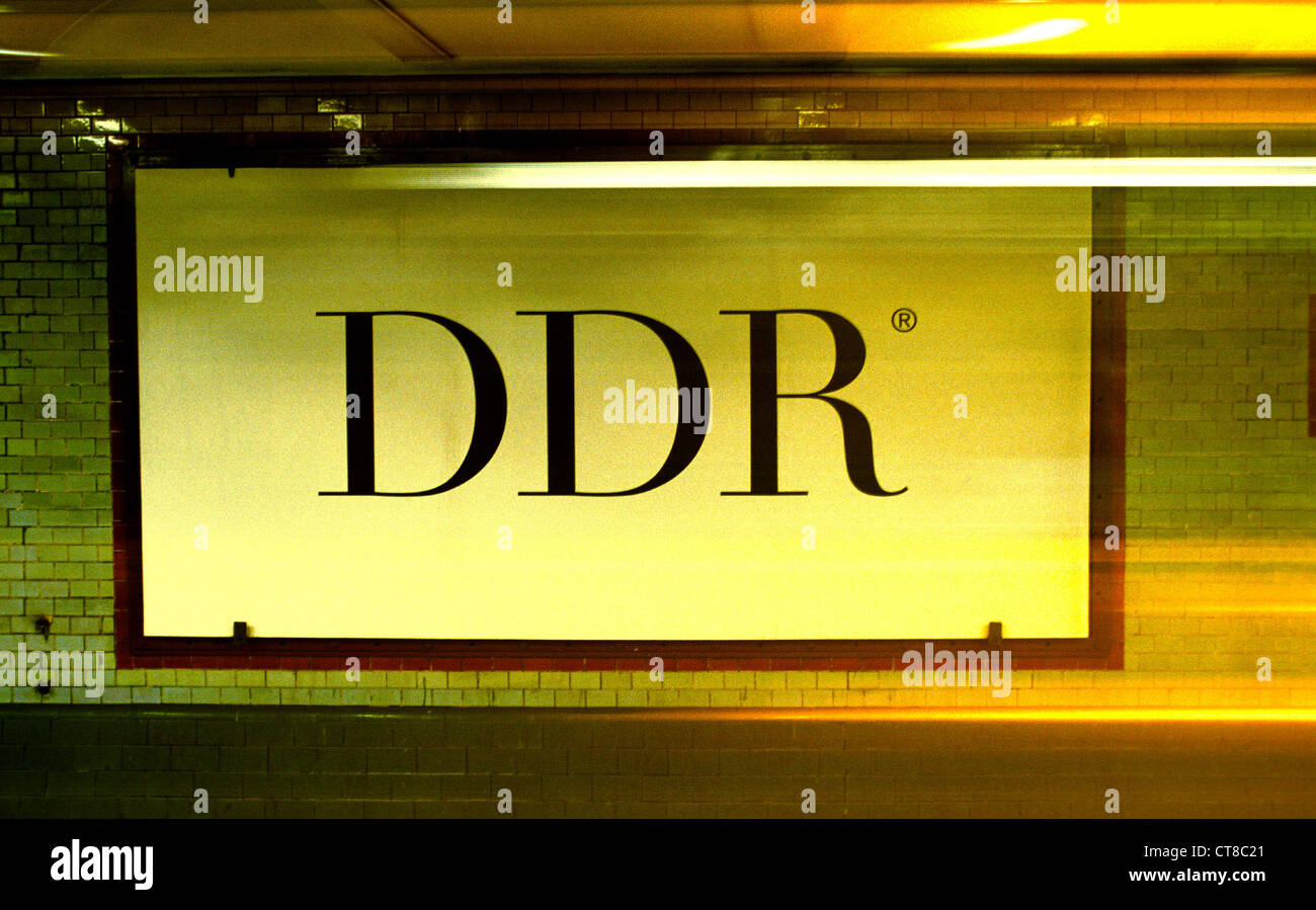 Poster board indicating DDR Stock Photo